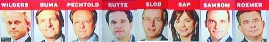 lijsttrekkers PVV, CDA, D66, VVD, Christenunie, GroenLinks, PVDA, SP